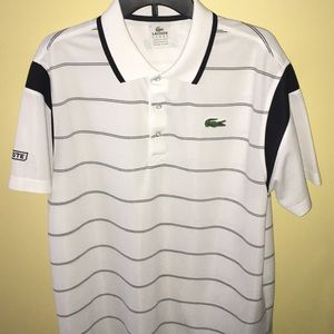 🐊NWOT LACOSTE SPORT WHITE STRIPED POLO SHIRT🐊